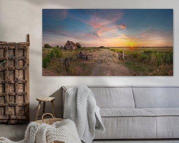 Kippenschuur Den Hoorn Texel zonsondergang van Texel360Fotografie Richard Heerschap