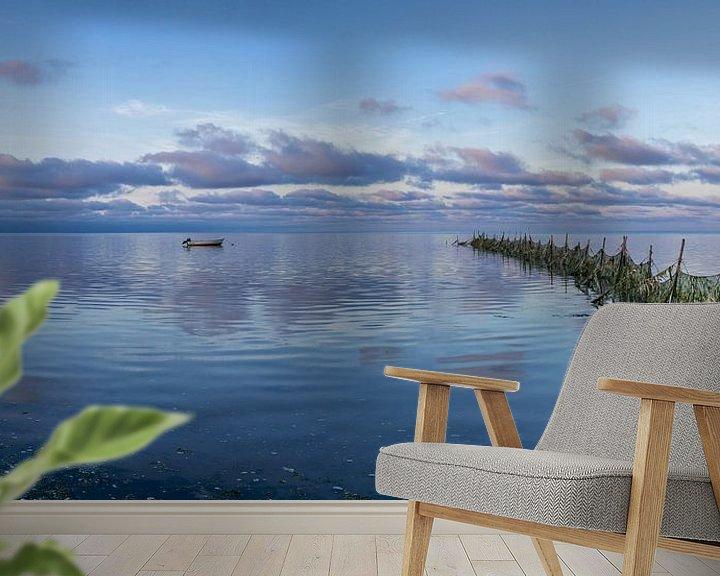 """Sfeerimpressie behang: Texel Wad - zeegezicht - """"Lonneke"""" - blauwe uurtje van Texel360Fotografie Richard Heerschap"""