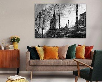 Elleboogkerk en Langegracht historisch Amersfoort in zwartwit van Watze D. de Haan