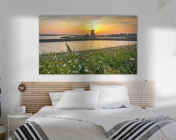 Zonsondergang, molen t Noorden op Texel / Sunset, Mill the North, Texel