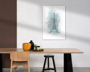 Eiffeltoren typografie   aquarel turquoise van Melanie Viola