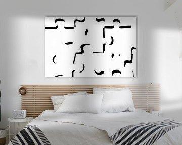"""""""only shadows"""" (alleen de schaduwen) in zwart wit puzzelstukjes (wit) 2:3 van Marjolijn van den Berg"""