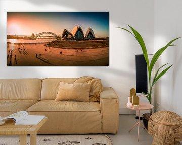 Sydney Opera House and harbour bridge , Australia van Dave Verstappen
