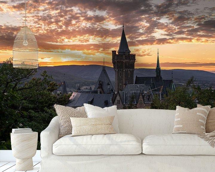 Beispiel fototapete: Schloss Wernigerode bei Sonnenuntergang von Oliver Henze