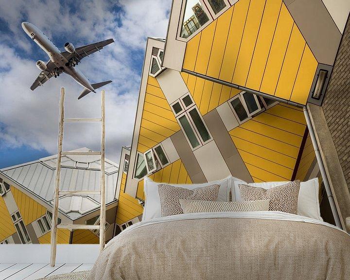 Sfeerimpressie behang: De Kubus huisjes van Marcel Derweduwen