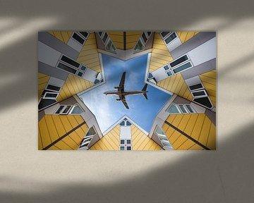 Kubus huisjes met vliegtuig von Marcel Derweduwen