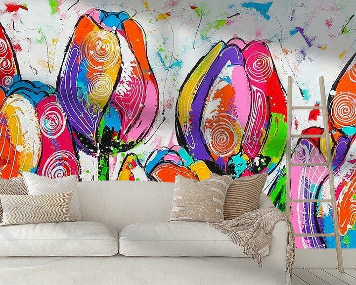 Beispiel fototapete: Tulpen auf einer Reihe von Vrolijk Schilderij