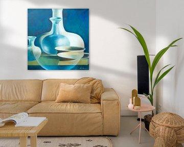 Moderne mix van vazen en schalen, blue shades