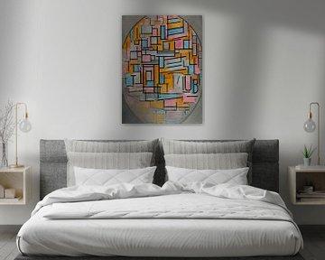 Mondrian Komposition in Oval im Dunkeln