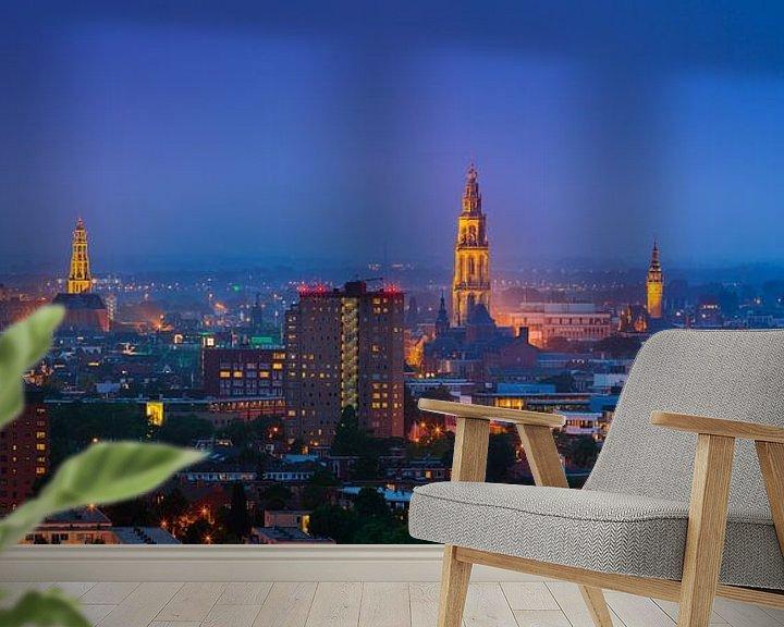 Sfeerimpressie behang: De skyline van de stad Groningen van Henk Meijer Photography