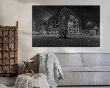 Het monument Ode aan Marten Toonder en de Markthal Rotterdam