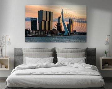 Le pont Rotterdam et le pont Erasmus à Rotterdam dans la lumière du soir sur MS Fotografie   Marc van der Stelt