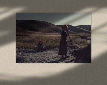 Woman at work in Tibet van Anahi Clemens
