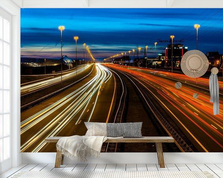Sfeerimpressie behang: snelweg A2 by night van Hans Verhulst