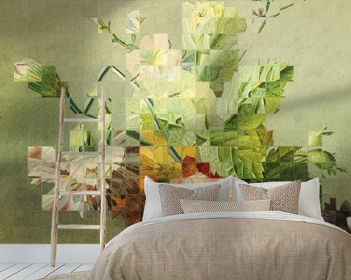 Sfeerimpressie behang: Mozaïek van een stilleven (VT Wonen & Design Beurs 2019) van Marja van den Hurk