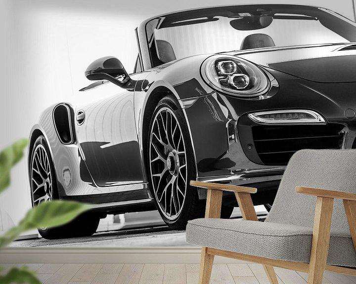 Beispiel fototapete: Porsche 911 Cabrio schwarz-weiß von Martijn van Dellen