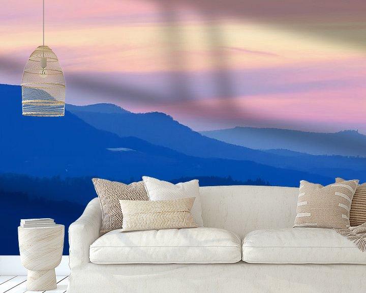 Beispiel fototapete: Silhouetten der Schwäbischen Alb zur Blauen Stunde - Nordalb von Jiri Viehmann