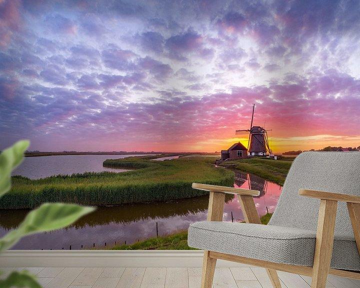 Sfeerimpressie behang: Molen het Noorden Texel Zonsondergang van Texel360Fotografie Richard Heerschap