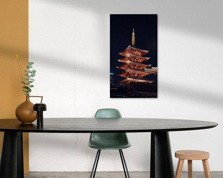 Sfeerimpressie: Senso-ji pagode bij nacht in Tokio, Japan van Aagje de Jong