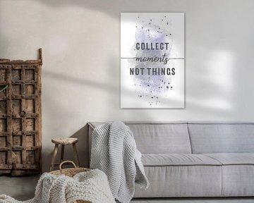Collect moments not things  | aquarel paars van Melanie Viola