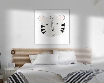 Babykamer, wanddecoratie, grijs wit zwart,