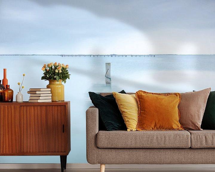 Sfeerimpressie behang: Blue Boat van Marieke Feenstra