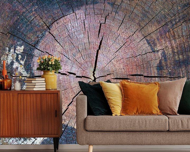 Sfeerimpressie behang: Houtstructuur met verf van Rietje Bulthuis