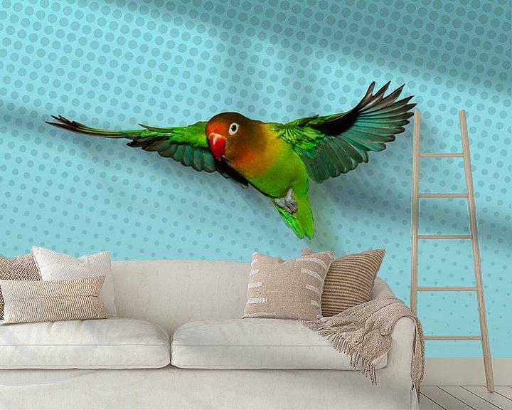 Beispiel fototapete: Fliegenden Agapornis von Bianca Wisseloo