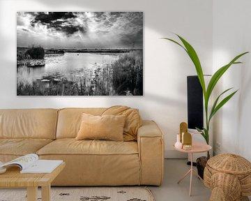 Holländische Landschaft, Eempolder in Schwarz / Weiß. von Mark de Weger