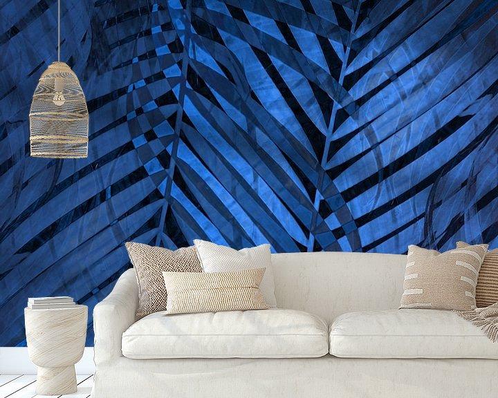 Beispiel fototapete: TROPICAL NEBULAS BLUE LEAVES-B von Pia Schneider