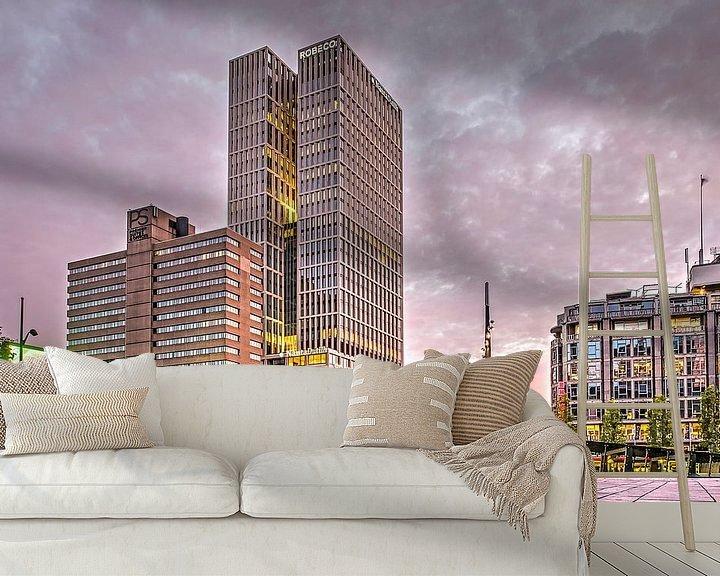 Sfeerimpressie behang: Rotterdam Central District van Frans Blok
