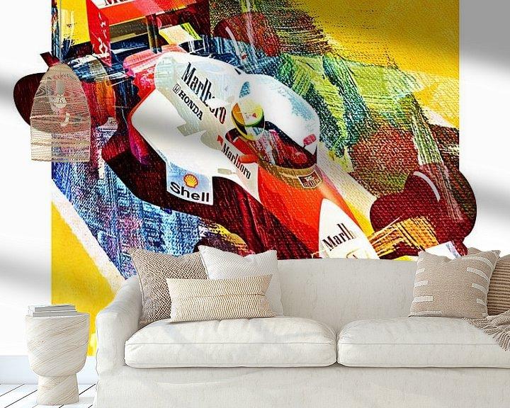Sfeerimpressie behang: Ayrton Senna Monaco 1990 van Nylz Race Art
