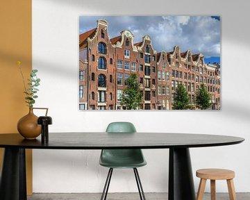 Grachtenpanden aan de Prinsengracht in Amsterdam van Dennis van de Water