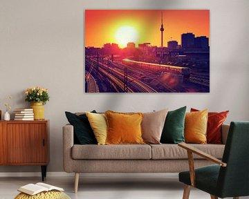 Berlin – Sunset Skyline van Alexander Voss
