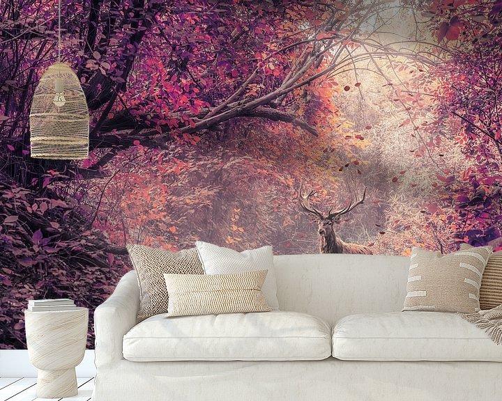 Beispiel fototapete: Das Rotwild im roten Wald von Elianne van Turennout