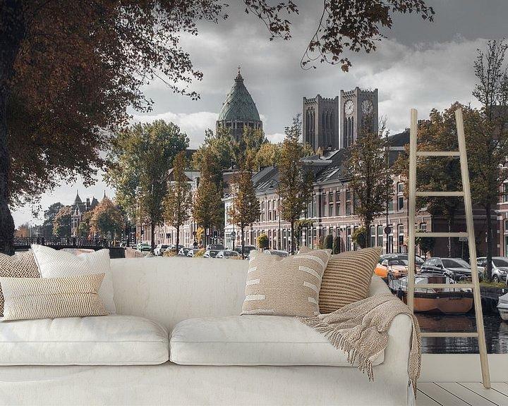 Sfeerimpressie behang: Haarlem: Leidse Vaart in herfsttinten. van Olaf Kramer