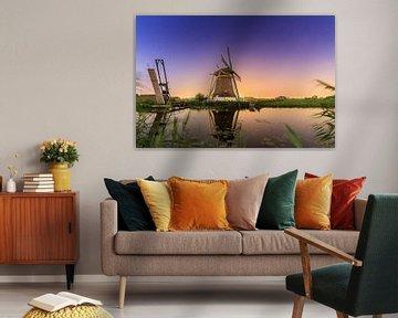 Hollandse molen nachtelijke reflectie van Dennis van de Water