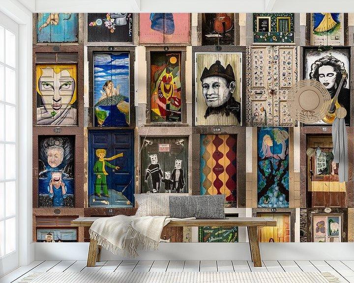 Sfeerimpressie behang: Collage deuren Funchal, Madeira old town van Carin du Burck