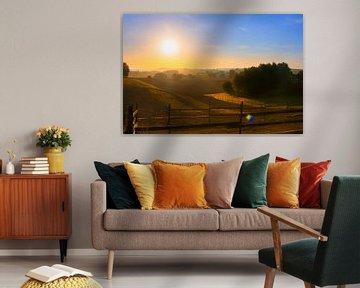 Herbstlicher Sonnenaufgang Leefdaal von Manuel Declerck