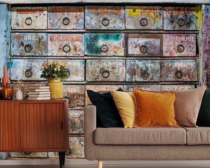 Sfeerimpressie behang: De verfkast. van Pieter van Roijen