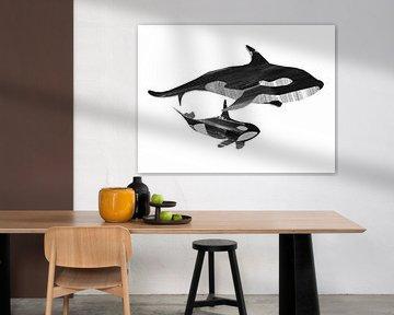 Samen zwemmen (zwart wit)