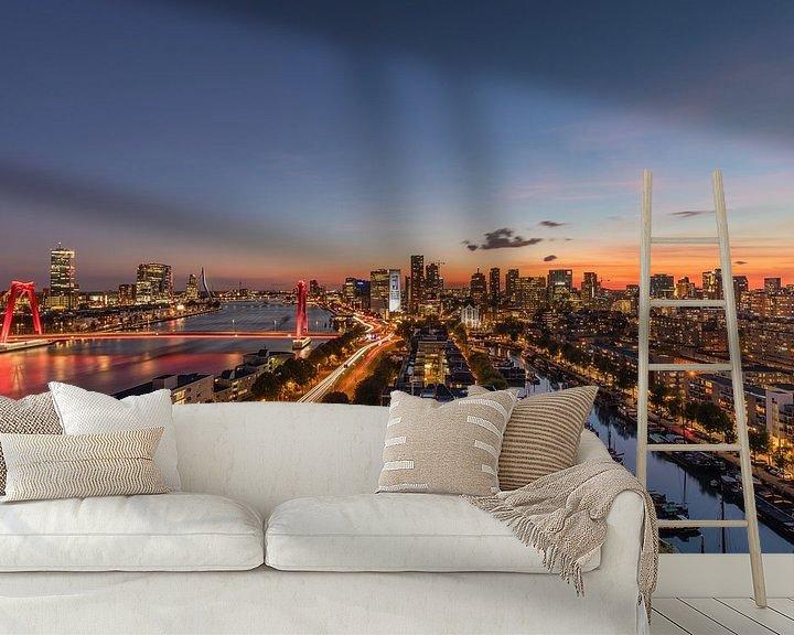 Beispiel fototapete: Die Skyline von Rotterdam während des Sonnenuntergangs von MS Fotografie | Marc van der Stelt