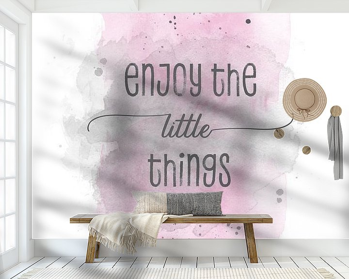 Sfeerimpressie behang: Enjoy the little things    aquarel roze van Melanie Viola