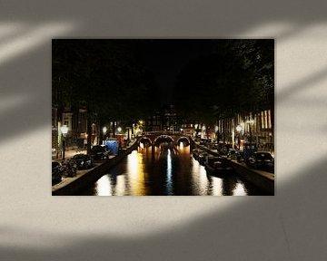 Leidsegracht in Amsterdam in der Nacht von R.Phillipson