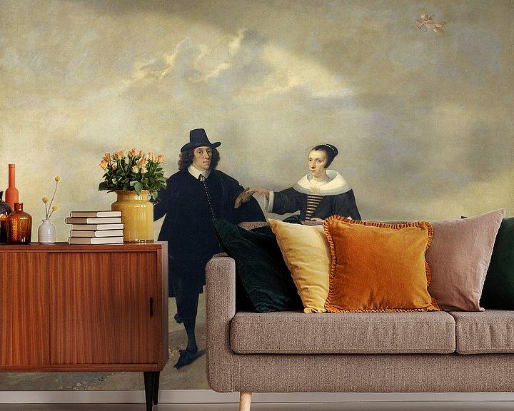 Sfeerimpressie behang: Portret van een echtpaar met kind, leden van de familie van Beresteyn