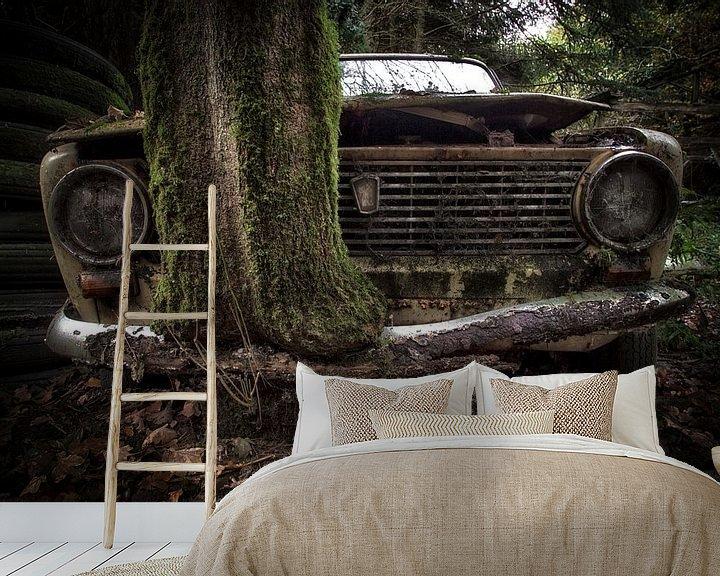 Beispiel fototapete: Lada mit Baum durch Stoßstange von Kelly van den Brande