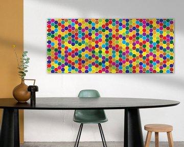 Mosaic, Honeycomb, honey, hexagon, Beehive, background von Mark Rademaker