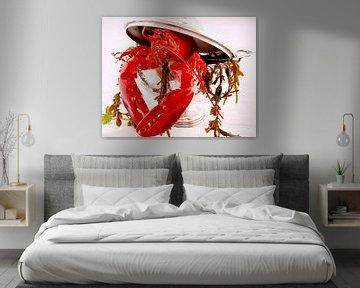 Rode kreeft met zeewier in een soepterrine van Christine Vesters Fotografie