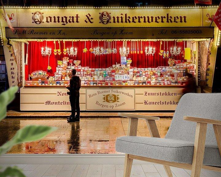 Sfeerimpressie behang: nougat suikerwerken van Vione van Leeuwen