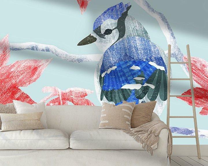 Sfeerimpressie behang: Wintervogel van Goed Blauw